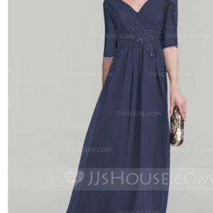 Blue formal mother of the bride dress